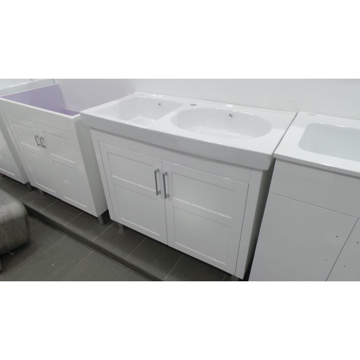 Samco 1000mm Double Bowl Ceramic Laundry Tub And Cabinet