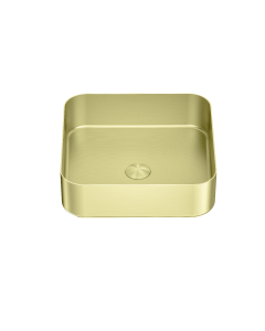 Nero Square Stainless Steel Above Counter Basin - Brushed Gold