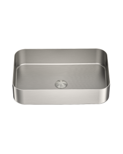 Nero Rectangle Stainless Steel Above Counter Basin - Brushed Nickel