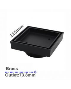 115mm x 115mm Square Black Tile Insert Floorwaste