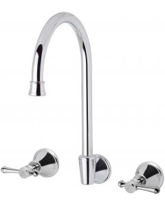 Phoenix Tapware Nostalgia Lever Wall Sink Set Chrome