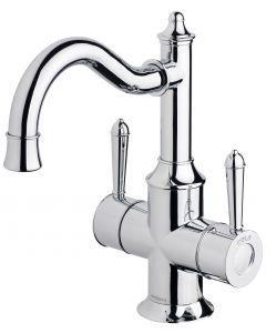 Phoenix Nostalgia Twin Handle Sink Mixer 160mm Shepherds Crook Chrome